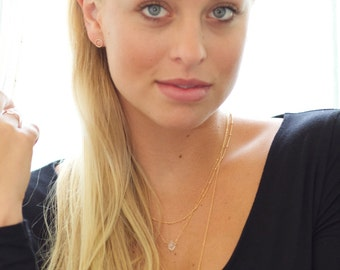 Dainty Herkimer Diamond Necklace Delicate Healing Handmade Minimal Jewelry by Coco & Marie