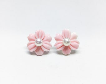 Blest Jewellery-Pink Mother of Pearl Flower and White Freshwater Pearl Earrings-2 Styles Earrings- 925 Sterling Silver