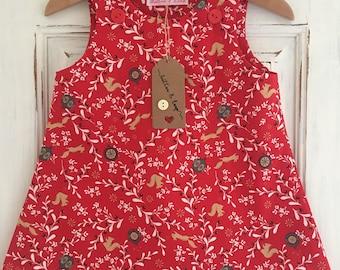 girls dress, party dress, festive, girls christmas dresses, baby girl dress, christmas gifts, red dresses, squirrel print, mistletoe