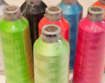 MADEIRA poly neon thread kit - NEON set 8 cones 5,500 yard cones embroidery