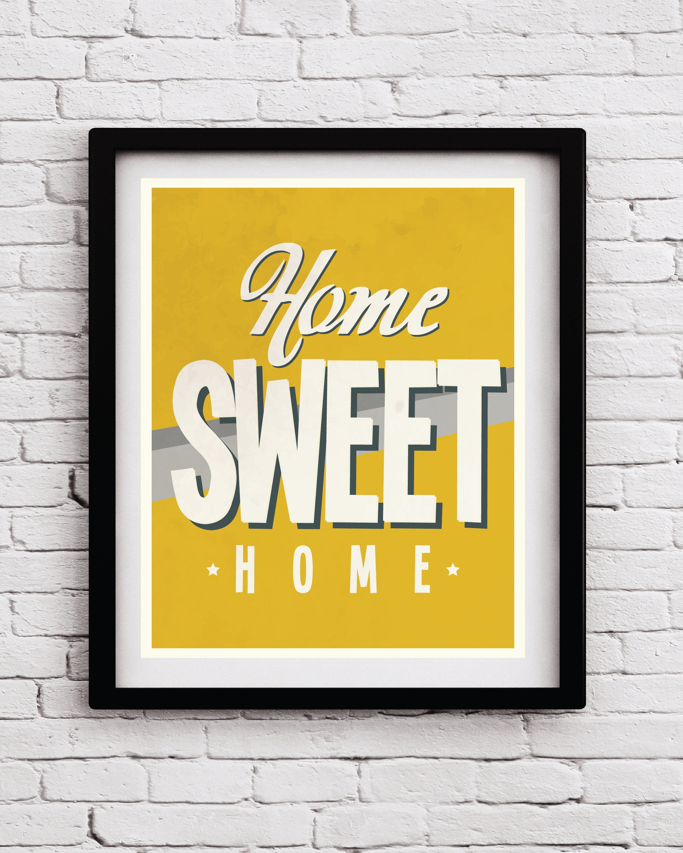 Mustard Yellow Kitchen Decor: Mustard Yellow Gray Home Sweet Home Poster Yellow Kitchen