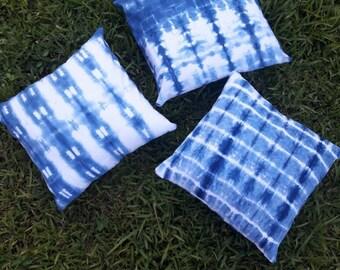 Indigo-Dyed Shibori Pillow