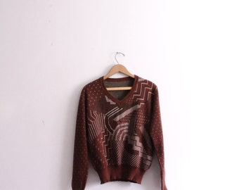 Brown Line Pattern 70s Sweater