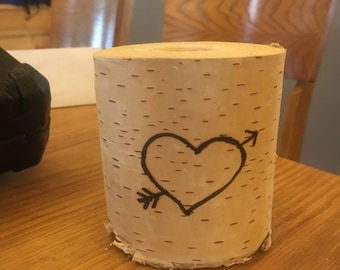 Personalized birch tealight holder