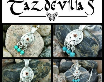 Recycled Sterling silver handcrafted flower pendant with copper rivet and turquoise beads