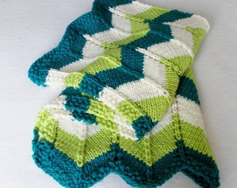 Thick Warm Winter Baby Blanket, Hand Knit Striped Zigzag Blue Green Cream, Boy Girl Toddler Newborn Gift, Chunky Knit Stroller Ripple Afghan