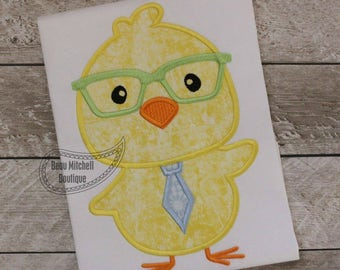 Easter chick with tie and glasses applique