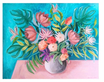 """Floral Painting, Canvas, Flowers, Artwork direct from artist, Marisa Añón, Large Painting, Original painting, Large Painting 40x32"""""""