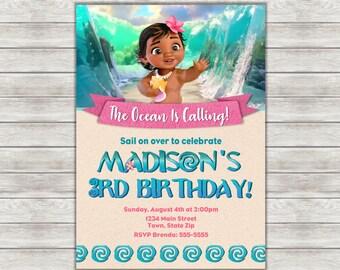 Moana Birthday Invitation, Baby Moana Birthday Invitation, Moana Invitation - Digital File (Printing Services Available)