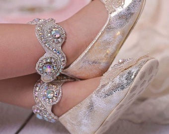 Gold Crystal Baby Shoes