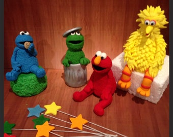 Sesame Street cake topper wit Stars Elmo, Cookie Monster, Oscar and Bigbird