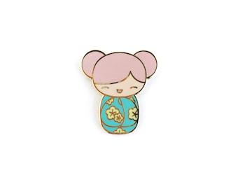 Kawaii Kokeshi Doll • Hard Enamel Lapel Pin