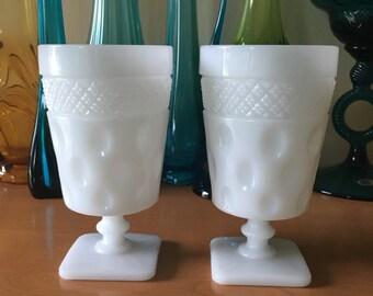 McKee Opal - Milk Glass Crosshatch and Dot Iced Tea Tumbler - Set of 2