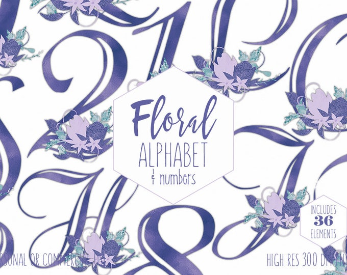 ULTRA VIOLET ALPHABET Clipart for Commercial Use Floral Wedding Monogram Clip Art Purple Foil Letters & Numbers Bouquets Digital Graphics