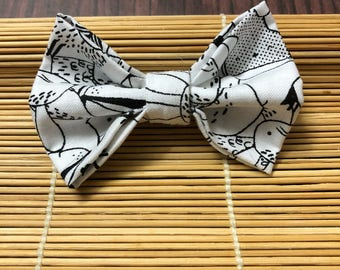 Black and White Animal Print Bow Tie