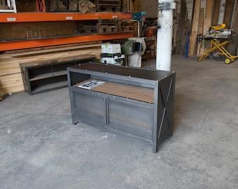 Modern Industrial Bar Console, Liquor Cabinet, Mini Bar, Bar Cart, Vinyl credenza