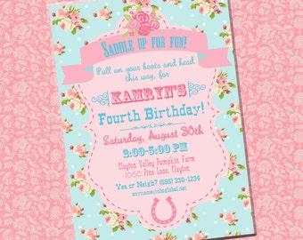 Shabby Chic Cowgirl Birthday, Shower Invitation