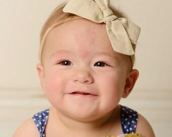 Oatmeal Fabric Bow Beige Vintage Headband taupe tan Headband Baby Bows girl Headband Hair bow Newborn nylon