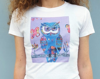 Owl Women's T-shirt, 100% natural cotton t-shirt with Owl illustration, animal illustration t-shirt, art clothing, women's t-shirt