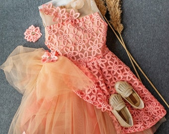 Pink Aster- Girl Dress and Hand-made hair accessory