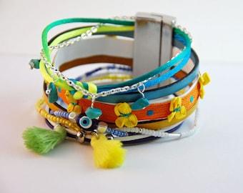 Cuff Bracelet multi strand leather and beads - blue green yellow Orange white - woman