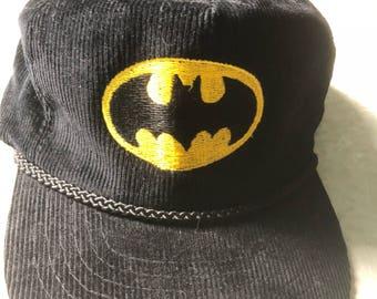 Vtg 1980s Promo Batman Black Adjustable Corduroy Hat!