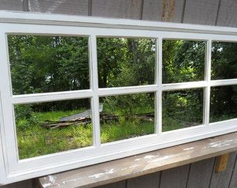 Distressed mirror  58 x  26  - Cottage distressed window mirror  - windowpane mirror - multi-pane mirror - off-white distressed mirror