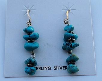 Native American Santo Domingo Turquoise Sterling Silver Dangle Earrings