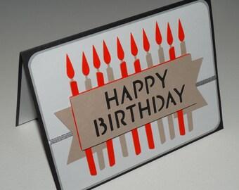 Happy Birthday, Candles handmade greeting card