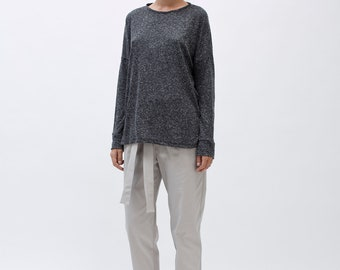 Long Sleeve Top, oversized shirt for women, long sleeves shirt, long sleeves shirt, dark grey shirt, long sleeves tshirt, loose short tunic