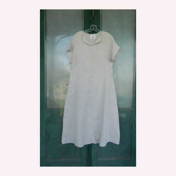 FLAX Engelheart Short-Sleeve Ties in the Back Dress from Summer 1996 in Natural Handkerchief Linen