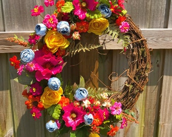 Bright Blooms Wreath