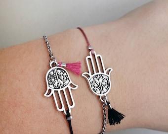 Hamsa bracelet, Silver Boho bracelet, Tiny tassel bracelet, Tibetan Silver, Macrame bracelet, Chain link bracelet, Friendship bracelet, Her