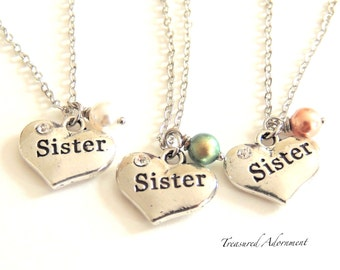 READY to SHIP, Sister Necklace, Heart Necklace, Swarovski Pearl, sister gift, Thank you gift, Sorority Sister, Holiday gift, Christmas gift