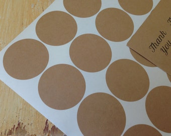 "200 Kraft Stickers 2"" circles, stickers, eco-friendly stickers, 2 in.  round stickers, grocery bag stickers (10 sheets)"