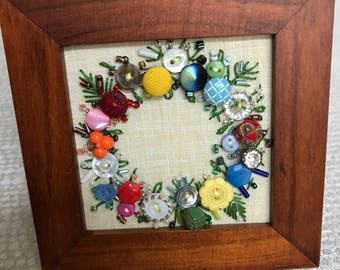Small Antique Button Wreath with hand embroidery