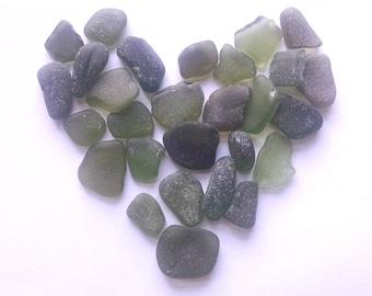2 oz - olive green natural sea glass- large