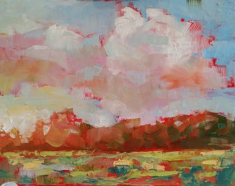 Lg Sky and Cloud Landscape, Marsh oil painting