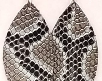 Black Snake Skin Silver Braided Earrings Hypoallergenic Nickle Free Hooks Earwires Genuine Leather Large Leaf