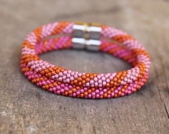 Bead crochet rope bracelets set - pink orange bracelets - summer beaded bracelet - magnetic clasp bracelets