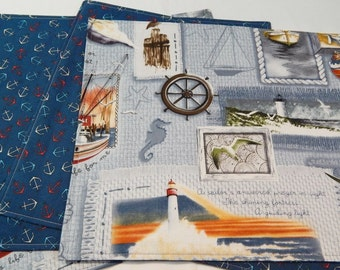 Reversible Placemats, Nautical Placemats, Handmade Placemats, Ocean Theme, Made in Maine Usa