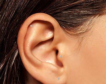 Tiny Heart Studs, Tiny Silver Earrings, Silver Helix Stud, Tragus Stud, Small CZ Studs, Tiny Earrings, Tiny Stud Earrings, Stud Earrings