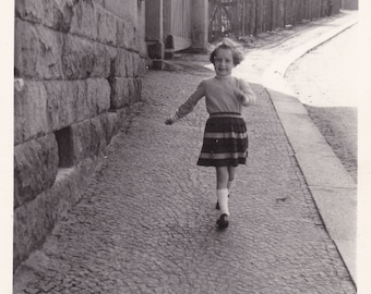 Curly Haired Little Girl Running Down Hill - Vintage Photograph