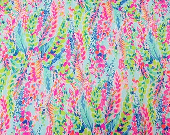 "1 Yard 36"" x 57"" Lilly Pulitzer Cotton Poplin Fabric "" Multi Catch the Wave  """