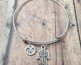 Hamsa initial bangle - Hamsa hand jewelry, hand of Fatima necklace, hand of Miriam bracelet, khamsa jewelry, silver Hamsa pendant