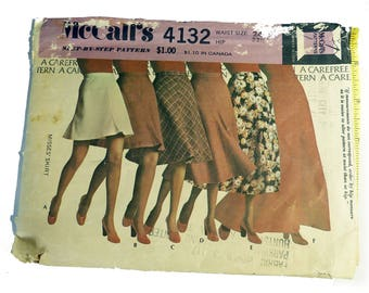 McCall's Vintage Pattern 4132   1974  Misses Bias Skirts Every Length