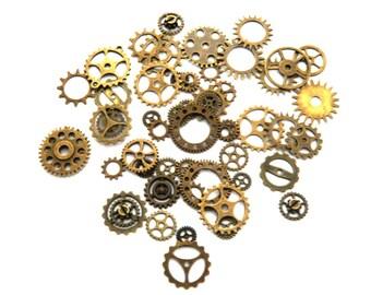 50 Gears cogs steampunk brass bronze lot watch gears mechanism