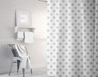 Gray Polka Dot Shower Curtain, Girls Bathroom Decor, Ikat, Neutral, Fabric Bath Curtain, Standard or Extra Long, Grey
