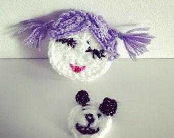 Crochet appliqué girl and teddy