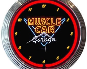 """Antique Style """" Muscle Car Garage """" Red Neon Clock"""